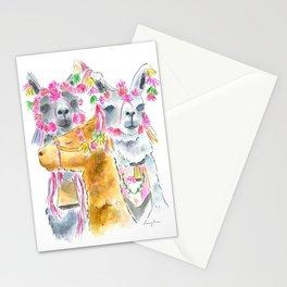 Happy alpacas watercolor Stationery Cards