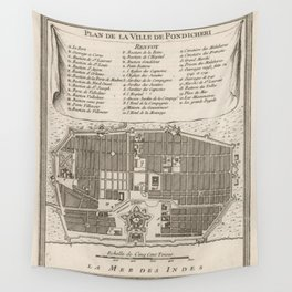 Vintage Map of Puducherry India (1764) Wall Tapestry