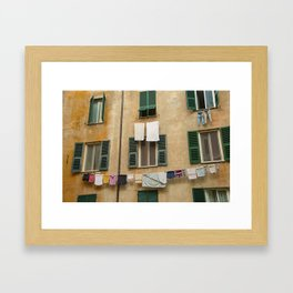 Hanging laundry Framed Art Print