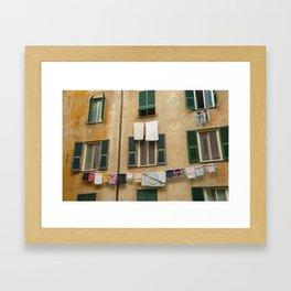 Hanging laundry Framed Art Print