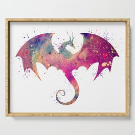 Dragon Art Watercolor Print Dragon Nursery Decor Home Decor Dragon Poster Purple Kids Room Decor Serving Tray