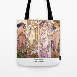 "Alfons Mucha, "" four flowers "" Tote Bag"