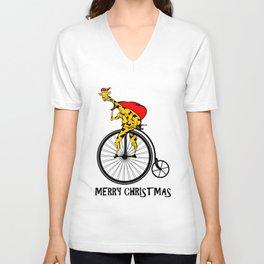 Giraffe on a bike Santa Claus Unisex V-Neck