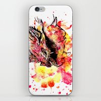 smaug iPhone & iPod Skins featuring Watercolor Smaug by Trinity Bennett
