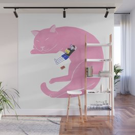 Relaxing with cat Wall Mural