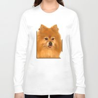 pomeranian Long Sleeve T-shirts featuring Cute Pomeranian dog by Bruce Stanfield