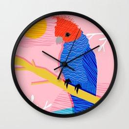 Blazin - memphis throwback tropical bird art parrot cockatoo nature neon 1980s 80s style retro cool Wall Clock