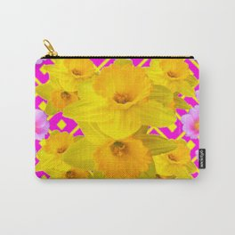 Colorful Fuchsia Pink Roses & Gold Daffodils Carry-All Pouch