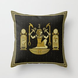 Egyptian Ornament Gold on black with hieroglyphs Throw Pillow