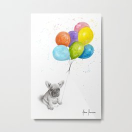 Little Frenchie and The Balloons Metal Print