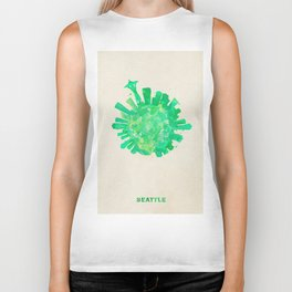 Seattle, Washington Colorful Skyround / Skyline Watercolor Painting Biker Tank