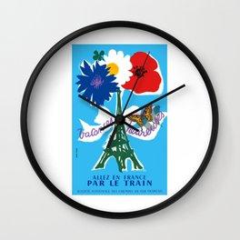 1954 France Happy Holidays Railway Travel Poster Wall Clock