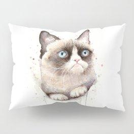 Grumpy Watercolor Cat Animals Meme Geek Art Pillow Sham