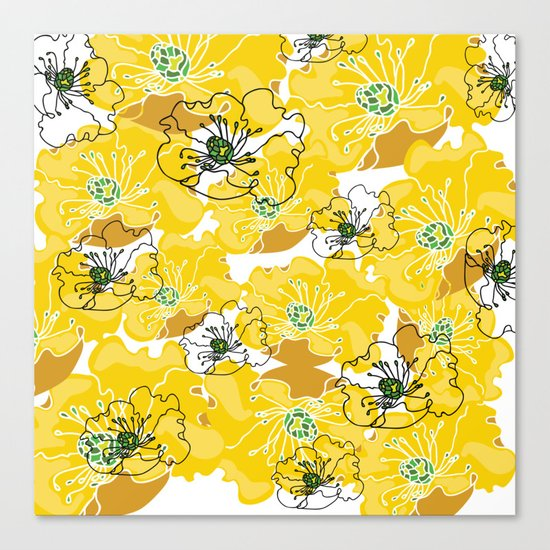 yellow marzipan flowers Canvas Print
