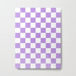 Checkered - White and Light Violet Metal Print
