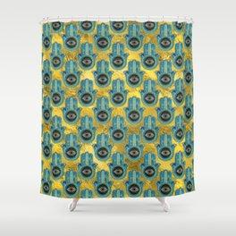 Decorative Hamsa Hand pattern on gold Shower Curtain