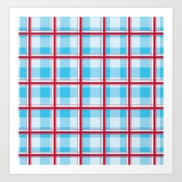 Checkered pattern Abstract blue and red Art Print
