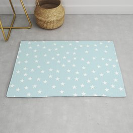 Baby blue background with white stars seamless pattern Rug