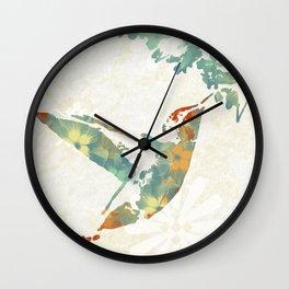 Colorful Teal Hummingbird Art Wall Clock