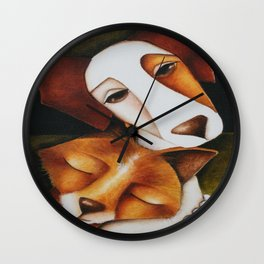 Fox and Jack Russell Terrier Unlikely Friends Wall Clock