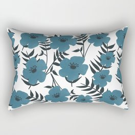 Blue Flowers with Banana Leaves Rectangular Pillow