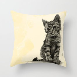 Kitty - PENCIL DRAWING Throw Pillow