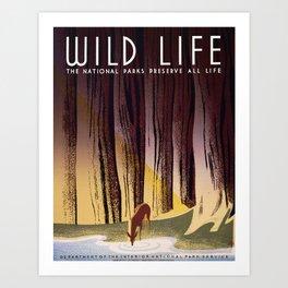 Wild Life - National Parks Preserve All Life Art Print