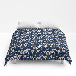 aspri petra white stone heart blue Comforters