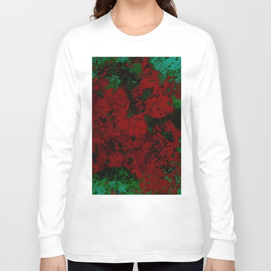 Roses Are Red - Abstract, red and cyan painting Long Sleeve T-shirt