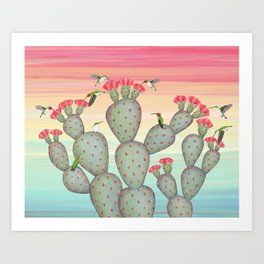 ruby throated hummingbirds & prickly pear cactus Art Print