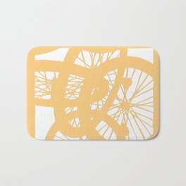 Bike wheels in yellow Bath Mat