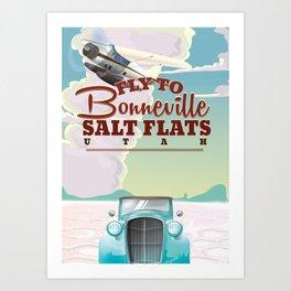 Bonneville Salt Flat Utah vintage travel poster Art Print