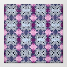 Fractal Art Repeating Impasto Rectangular Pattern Pink & Blue Canvas Print