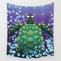 sea turtle Wall Tapestries featuring Sea Turtle by Dusty Goods