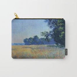 Oat and Red Poppy Fields, Giverny Landscape Painting by Claude Monet Carry-All Pouch