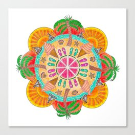 Summer Mandala on white Canvas Print