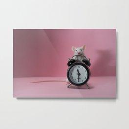 Cute white mouse and clocks Metal Print