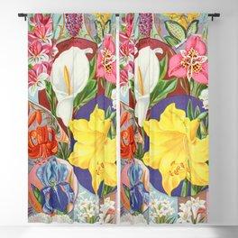 VINTAGE FLOWERS ILLUSTRATION Blackout Curtain