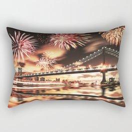 new york city with fireworks Rectangular Pillow