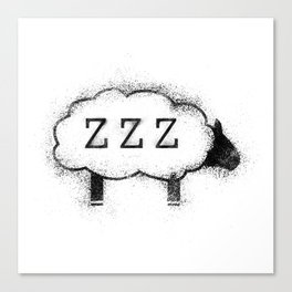 ZZZ Sheep - Distressed Canvas Print