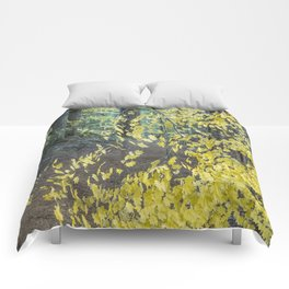 A Splay of Fall Leaves on a Forest Trail Comforters