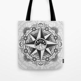 Journey to Moon Mountain | Black & Grays Tote Bag