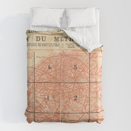 Vintage Paris City Centre Map Duvet Cover
