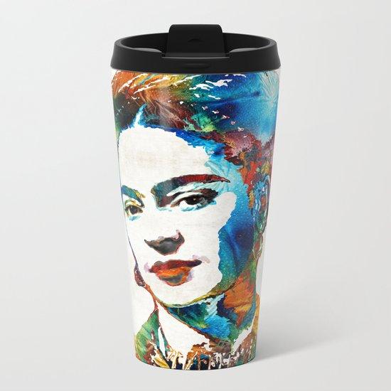 Frida Kahlo Art - Viva La Frida - By Sharon Cummings Metal Travel Mug