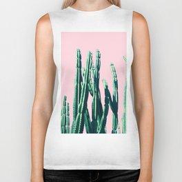 Green Cactus on Pink Biker Tank
