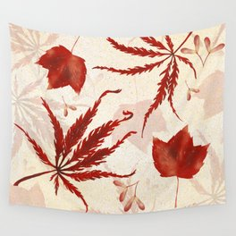 Red Japanese Maple Leaf Wall Tapestry
