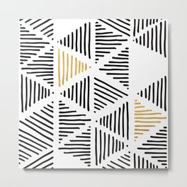 Simple Geometric Zig Zag Pattern-Black Gold White -Mix & Match with Simplicity of life Metal Print