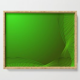 Greeting card of green lines made from smoke on a green background. Serving Tray