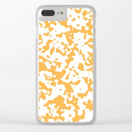 Spots - White and Pastel Orange Clear iPhone Case