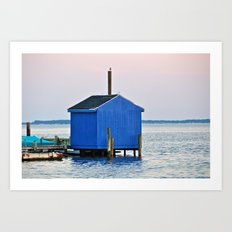 Blue Dock House Art Print